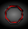 black and red octagon on perforated metallic vector image