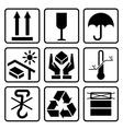 Cardboard packaging icon set vector image