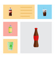 flat icon beverage set of carbonated bottle vector image