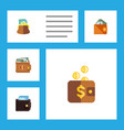 flat icon billfold set of payment money wallet vector image