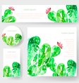 Set of watercolor cactus tags and banners vector image