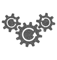 Transmission Wheels Rotation Grainy Texture Icon vector image