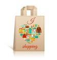 Love heart shopping bag symbol vector image