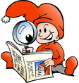 Hand-drawn of an Happy Christmas Elf reading News vector image