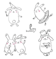 Funny bunnies on a white background vector image