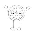 cartoon alarm clock time alert bell hour vector image