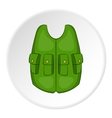 Green hunter vest icon cartoon style vector image