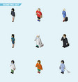 isometric people set of girl doctor medic and vector image