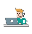 person with headset icon vector image