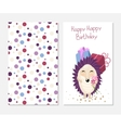 Stylish happy birthday card in cute style with vector image