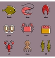 Line art Sea food icon set Infographic elements vector image