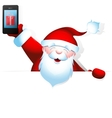 Santa Claus with mobile phone and blank banner vector image