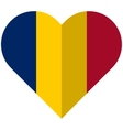 Chad flat heart flag vector image