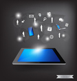 Modern technology thin tablet with social network vector image vector image