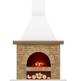 ancient brick hearth with fire vector image