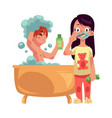 boy taking bath washing hair girl in pajamas vector image