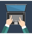 Businessman hand on laptop keyboard with blank vector image