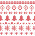 Nordic pattern with Christmas elements stitched vector image