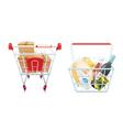 Shopping Cart And Basket Set vector image