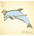 Sketch fancy dolphin in vintage style vector image