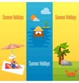 Summer Holidays Banner with Water Bungalows vector image