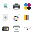 Printing services icons set flat style vector image