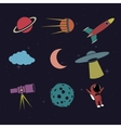 Cartoon space element set vector image