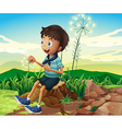 A stump with a young boy sitting vector image vector image