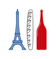France flag of tourist attractions in ountry vector image