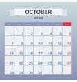 Calendar to schedule monthly October 2013 vector image