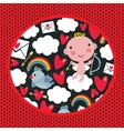 Cupid with hearts and birds pattern vector image