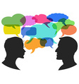 man and woman chat with speech bubbles vector image