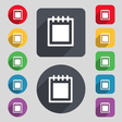 Notepad icon sign A set of 12 colored buttons and vector image