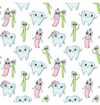 seamless pattern with cute childish characters - vector image