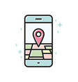 smartphone gps linear icon line vector image