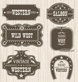 Western vintage labels isolated for design frames vector image