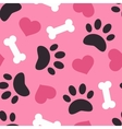 Dog paw trace silhouette with bones and pink heart vector image