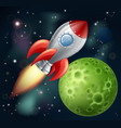 cartoon rocket in space vector image vector image