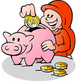 Hand-drawn of an Happy Christmas Elf put money vector image