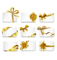 Beautiful cards with gold bows vector image vector image