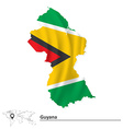 Map of Guyana with flag vector image