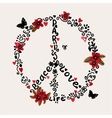 Freehand Peace Love Paris with vector image