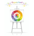 Vegetarian fruit and vegetables rainbow plate on vector image