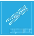Clothes peg sign White section of icon on vector image