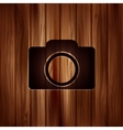 Photo camera icon Photography Wooden texture vector image