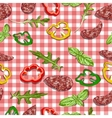 Red and white classic checkered tablecloth texture vector image