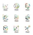 Thin line chart logo set Graph icons modern vector image