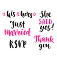 wedding invitations lettering set isolated vector image