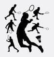 Badminton sport tournament silhouette vector image
