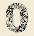 Number 0 floral decorative ornament vector image